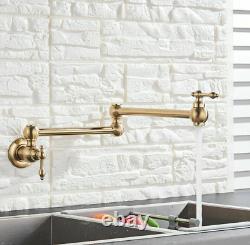 Wall Mount Brass Kitchen Pot Filler Fold Faucet Folding Cold Tap Brushed Gold