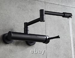 Wall Mount Kitchen Sink Folding Faucet Mixer Hot Cold Swivel Out Tap, Black Plate