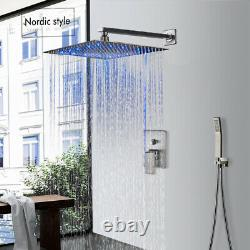 Wall Mounted LED 16-inch Rainfall Shower Faucet with Hand Shower Set Mixer Tap1