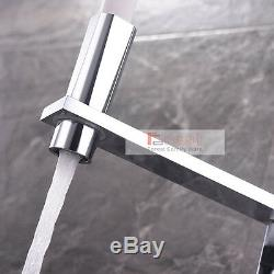White Pull Out Down Spout Brass Chrome Square Kitchen Sink Mixer Taps Faucet